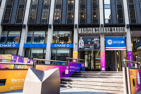 NEW YORK CITY - JANUARY 6, 2017: Exterior street view of Madison Square Garden in midtown Manhattan NYC on a sunny day