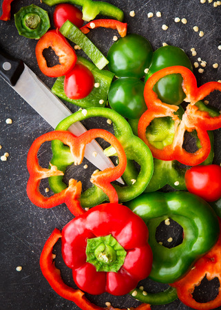 Sliced Red and Green Peppers Stock Photo