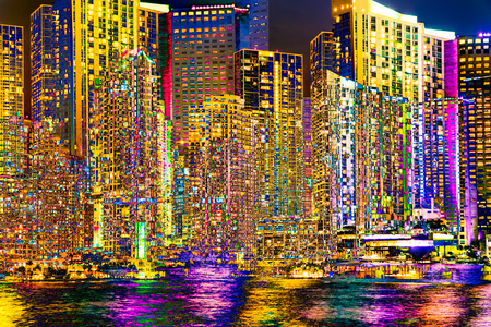 seaside resort: Miami Florida abstract digital photo manipulation of bright and colorful big city skyline at night with lights