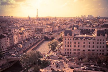 palais: Sunset view across the city of Paris