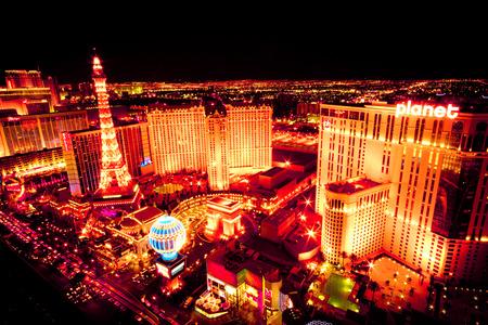 LAS VEGAS, NEVADA - MAY 6, 2012: Beautiful night view across the strip at Las Vegas Nevada with lights at night