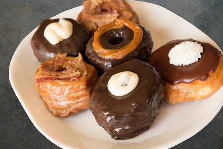 Delicious assortment of gourmet donuts.
