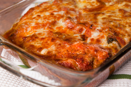 Pan of authentic traditional Chicken Parmigiana