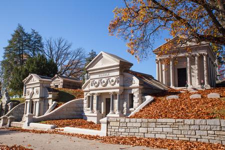 PHILADELPHIA, PA - NOVEMBER 12, 2016: View of historic Laurel Hill Cemetery in Philadelphia Pennsylvania on an autumn day.