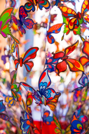 Pretty painted glass butterflies for backdrop Stock Photo
