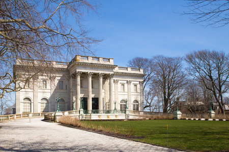 NEWPORT, RHODE ISLAND - APRIL 11, 2017:  Exterior view of the historic Marble House in Newport Rhode Island.  This former Vanderbilt Mansion is now a well known travel attraction.