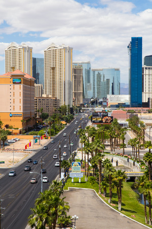 LAS VEGAS, NEVADA - MAY 17, 2017: City of Las Vegas on a sunny day with hotels and resorts casinos in view.