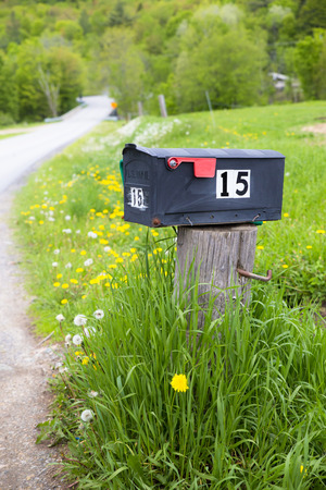 Rural mailbox on country road