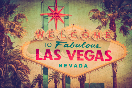 Vintage Welcome to Fabulous Las Vegas sign with retro grunge texture