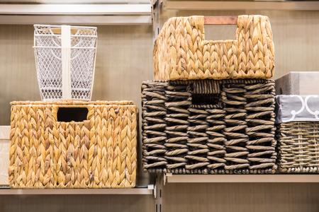 Assorted variety of home storage organizing baskets Foto de archivo