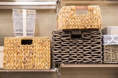 Assorted variety of home storage organizing baskets Archivio Fotografico