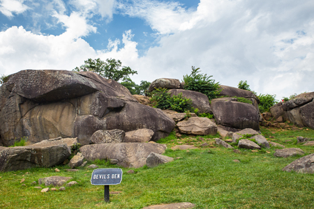 View of civil war military battleground at Devils Den in Gettysburg Pennsylvania Editorial