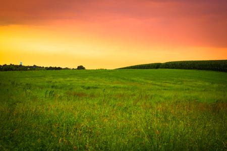 석양, 아미시 컨트리, 랭 카스 터 펜실베니아 잔디, 변 강 쇠와 옥수수와 아름 다운 농장 필드