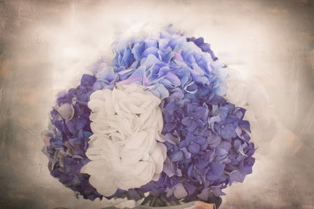 Hydrangea floral bouquet with vintage texture Stock Photo