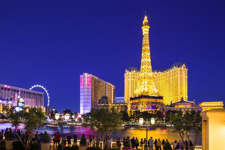 LAS VEGAS, NEVADA - MAY 17, 2017: Beautiful night view of Las Vegas with Paris Resort Casino and hotels in view.