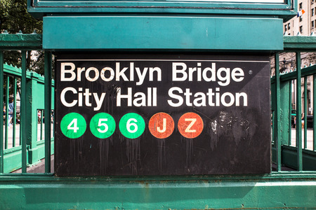Iconic New York City subway sign with circles Reklamní fotografie