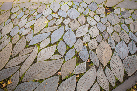Leaf shaped garden stone pavers