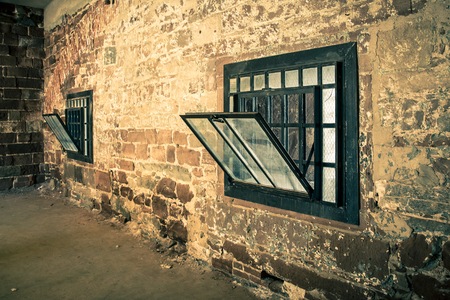 Rough Stone Interior Wall With Grunge Window Stock Photo   90262564
