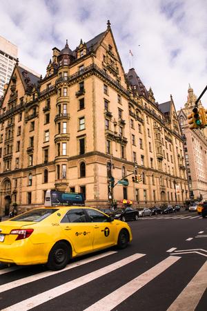 NEW YORK CITY - NOVEMBER 12, 2017: View of landmark The Dakota luxury apartment building and former home of John Lennon, seen from Central Park West.
