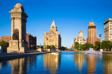 View of historic buildings and fountain, Syracuse New York at Clinton Square.