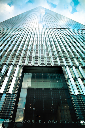 NEW YORK CITY, NEW YORK - JUNE 10, 2017: View of One World Trade Center at the observatory entrance looking upwards. This tower is also known as The Freedom Tower. Sajtókép