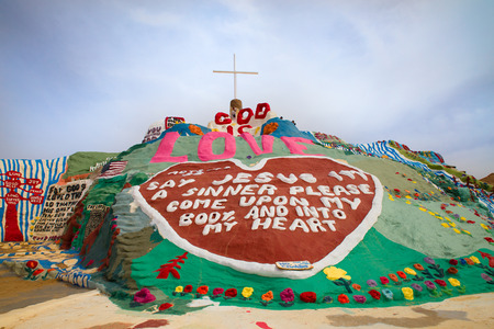 NILAND, CALIFORNIA - MARCH 13, 2018:  View from art installation by Leonard Knight called Salvation Mountain in the California Desert.  Salvation Mountain is Leonards tribute to God.