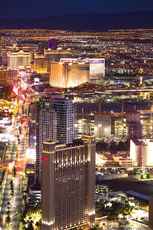 LAS VEGAS - MAY 15, 2018: Beautiful cityscape aerial view across Las Vegas Nevada at night with lights and many luxury resort hotels and casinos in view.