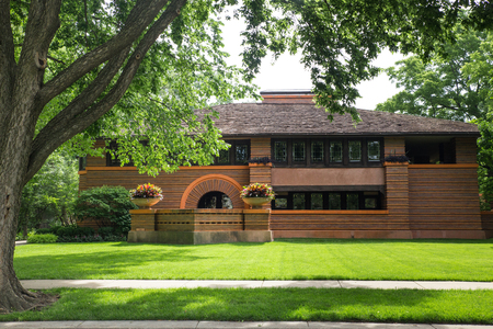 Oak Park. Illinois, USA - June 25, 2018:  The Arthur B. Heurtley House  designed by architect Frank Lloyd Wright.
