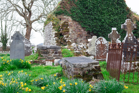 View of old Irish cemetery ruins in countryside of Ireland 写真素材