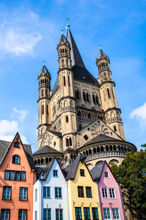 View of colorful architecture and old church in Cologne Germany Stok Fotoğraf