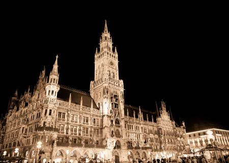 MUNICH, GERMANY - SEPTEMBER 10, 2018:  View of landmark Rathaus Marienplatz seen at night.