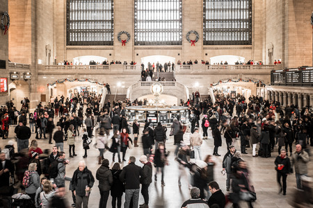 NEW YORK CITY - DECEMBER 17, 2017:  View of the inside of Grand Central Station Terminal in Manhattan at holiday time with crowd of people Editorial
