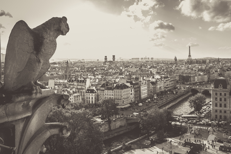 Gargoyle from Notre Dame Cathedral overlooking the cit of Paris with a vintage retro tone effec