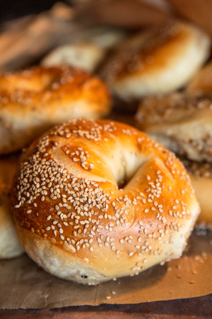 Assortment of fresh baked authentic New York style seeded bagels Stock fotó
