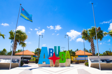 Colorful Aruba welcome sign on a sunny day