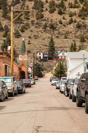 IDAHO SPRINGS, COLORADO - APRIL 29, 2018:  Street scene from historic western Idaho Springs,  Colorado mining town. Stock Photo - 118529506
