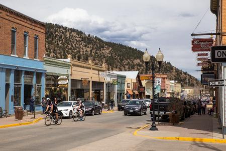 IDAHO SPRINGS, COLORADO - APRIL 29, 2018:  Street scene from historic western Idaho Springs,  Colorado mining town.