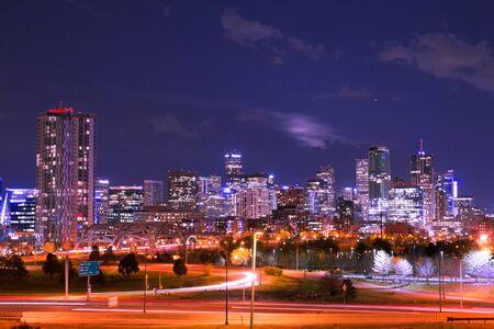 Night scene of the Denver Colorado skyline Stock Photo