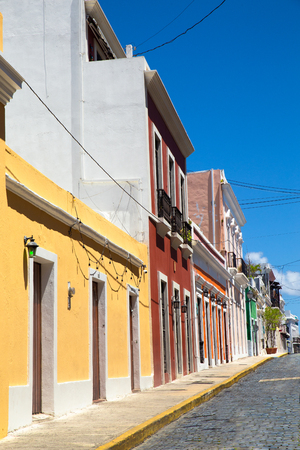Old San Juan Puerto Rico with example of typical old colorful architecture