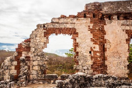 Details of historic abandoned lighthouse ruins at Aguadilla, Puerto Rico,