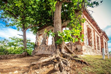 Details of historic abandoned lighthouse ruins at Aguadilla, Puerto Rico, Stock fotó - 137879363