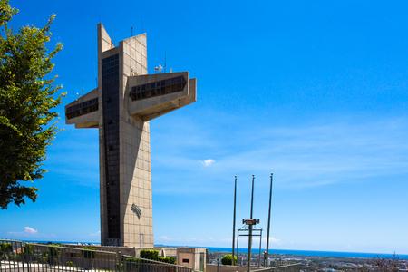 Ponce Puerto Rico view of Cerro Del Vigia, Watchmans tower Crucifix Stock Photo