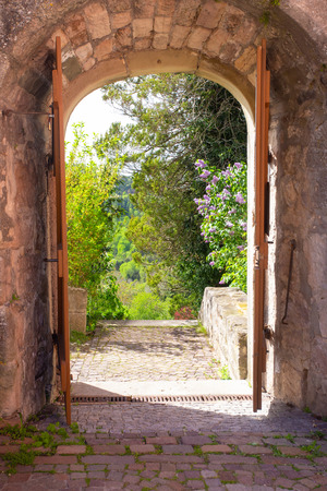 Castles Old stone arched entryway leads into landscape garden with green trees and flowers.