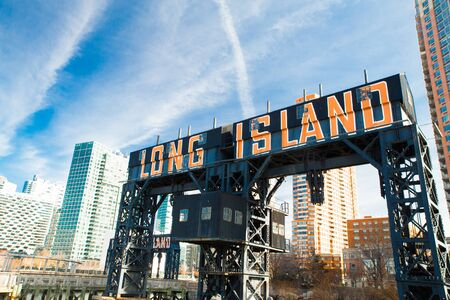 Historic Long Island sign seen from Gantry State Park in Long Island City, Queens New York
