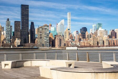 New York City skyline seen from Gantry State Park in Long Island City Queens looking towards Manhattan
