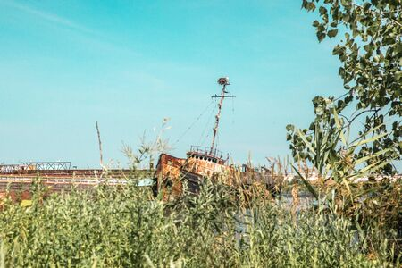 Abandoned boat in Staten Island New York City, also known as, the Tugboat Graveyard