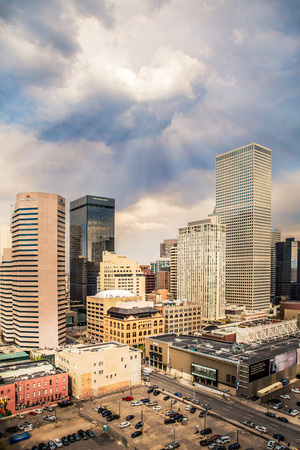 DENVER, COLORADO - APRIL 30, 2018: View of modern buildings in the downtown Denver Colorado skyline 에디토리얼