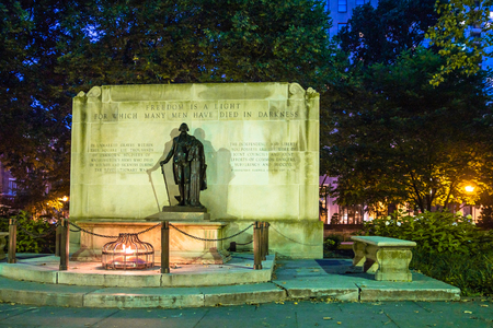 Philadelphia Pennsylvania Washington Square Park at night at Tomb of the Unknown Soldier statue Editorial