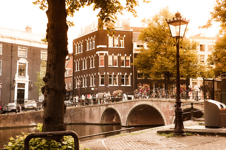 Scene from Amsterdam from the canal with bridge, trees, and architecture in view.