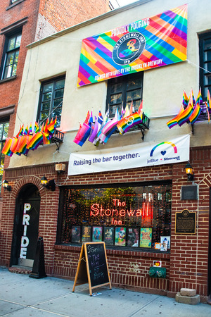 NEW YORK CITY - AUGUST 24, 2019:  Historic Stonewall Inn gay bar in Greenwich Village Lower Manhattan Editorial